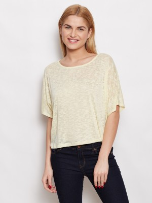 Young Threads Casual Short Sleeve Self Design Women's Yellow Top
