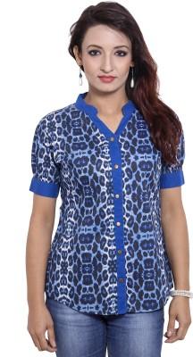 CURLLIE Casual Short Sleeve Animal Print Women's Blue Top