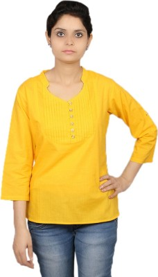 Kemrich Formal Full Sleeve Solid Women's Yellow Top