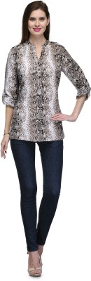 Glamdiva Party 3/4 Sleeve Animal Print Women's Brown Top