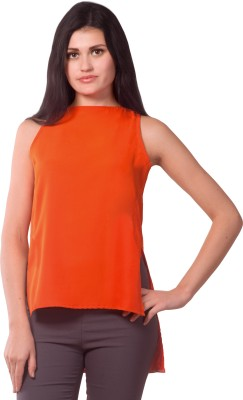 Miss Chase Party Sleeveless Solid Women's Orange Top