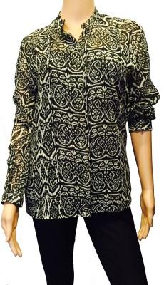 FASIION Casual Full Sleeve Printed Women's Black, White Top