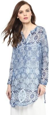 Rose Vanessa Casual Full Sleeve Printed Women's Blue Top