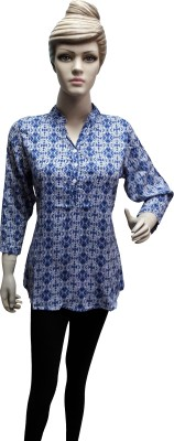 Sneharsh Casual, Festive 3/4 Sleeve Printed Women's Blue Top
