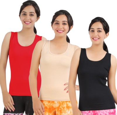 Rham Gold Casual Sleeveless Solid Women's Multicolor Top