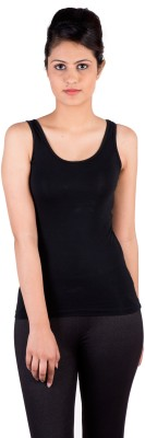 De Moza Casual Sleeveless Solid Women's Black Top