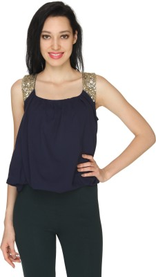 Ashtag Formal, Lounge Wear, Party Sleeveless Embellished, Solid Women's Dark Blue, Gold Top