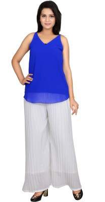 Angel Creations Party Sleeveless Self Design Women's Blue Top