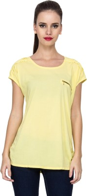 Stylesambram Casual Short Sleeve Solid Women's Yellow Top