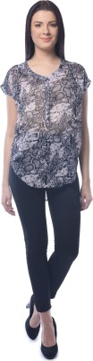 Chloe Casual Short Sleeve Printed Women,s Grey, Black Top