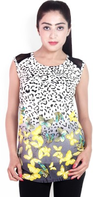 Scarlett Casual Sleeveless Floral Print Women's Yellow Top