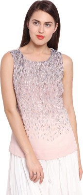 Ozel Casual Sleeveless Solid Women's Pink Top