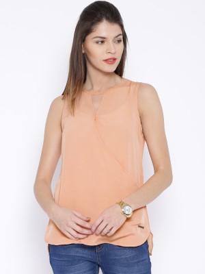 Harvard Casual Sleeveless Solid Women's Orange Top