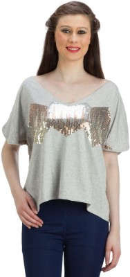 PRAGS Party Balloon Sleeve Embroidered Women's Grey Top