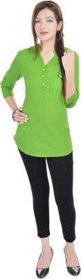 Fantasy Ika Casual 3/4 Sleeve Self Design Women's Green Top
