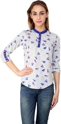 99Hunts Casual 3/4 Sleeve Printed Women's Blue Top