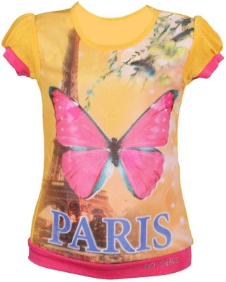 LEI CHIE Casual Short Sleeve Graphic Print Girl's Yellow Top