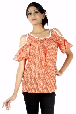 Zolake Casual Short Sleeve Printed Women's Orange, White Top