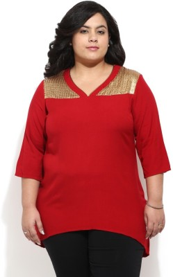 Amydus Casual 3/4 Sleeve Embellished Women's Red Top