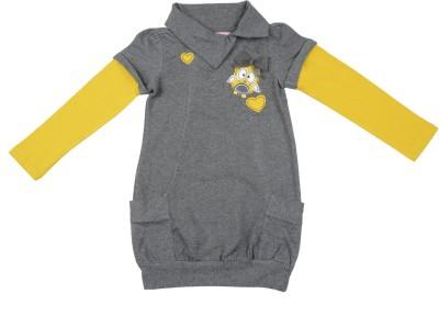 Addyvero Casual Full Sleeve Self Design Girl's Yellow, Grey Top