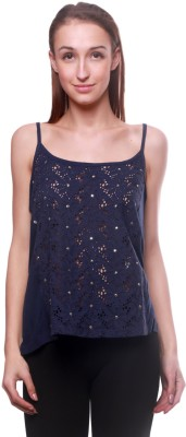 La Divyyu Party Sleeveless Embroidered Women's Blue Top