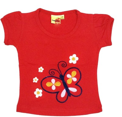 Tomato Casual Balloon Sleeve Embroidered Girl's Red Top