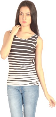 Miss Rich Casual Sleeveless Printed Women's Black Top
