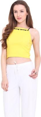 Ridress Casual Sleeveless Solid Women's Yellow Top