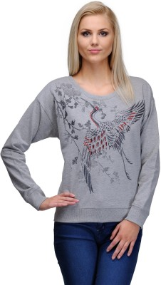 Curvy Q Casual Full Sleeve Solid, Printed Women's Grey Top