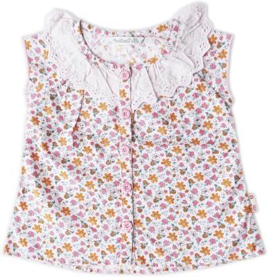 Milou Casual Short Sleeve Self Design Baby Girl's Pink Top