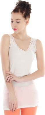 Pepe Jeans Casual Sleeveless Solid Women's White Top