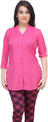 HERCOMPLETEWOMAN Casual Full Sleeve Solid Women's Pink Top