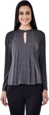 Colors Couture Casual Full Sleeve Solid Women's Grey Top