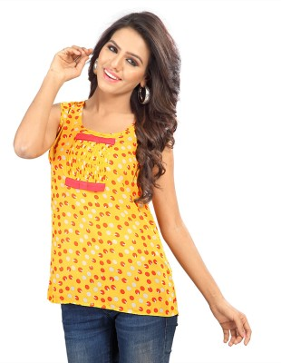 SFDS Casual, Party, Wedding Sleeveless Printed, Self Design Women's Yellow Top