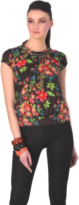 Rediscover Fashion Casual Short Sleeve Floral Print Women's Brown Top