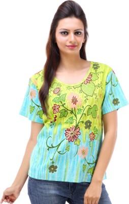 Avon Apparels Casual Short Sleeve Printed Women's Blue Top