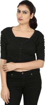 Haniya Casual 3/4 Sleeve Solid Women's Black Top