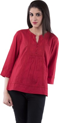 Aarr Casual 3/4 Sleeve Solid Women's Red Top