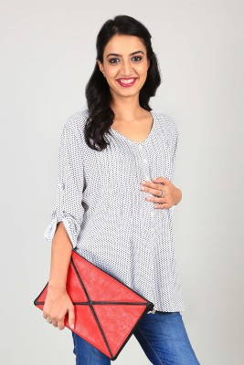 Momzjoy Casual 3/4 Sleeve Polka Print Women's Multicolor Top