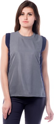 Miss Chase Casual Sleeveless Solid Women's Grey Top