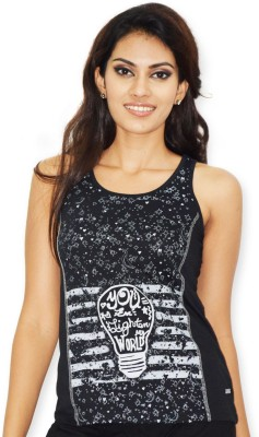 Riot Jeans Casual Sleeveless Printed Women's Black Top