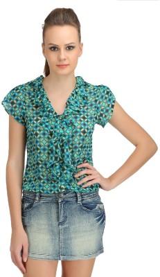 Ozel Casual Short Sleeve Polka Print Women's Green Top