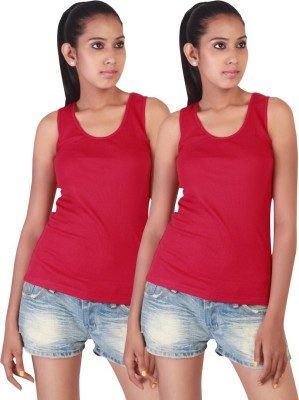 Twin Birds Casual Sleeveless Solid Women's Red Top