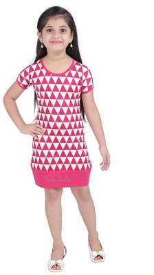 Triki Casual Short Sleeve Printed Girl's Pink Top