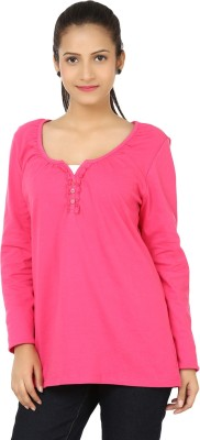 Bajo Casual Full Sleeve Solid Women's Pink Top