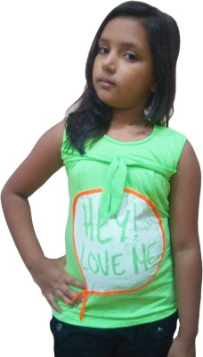 Instyle Casual Sleeveless Self Design Girl's Green Top