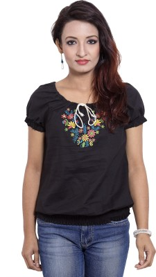 CURLLIE Casual Short Sleeve Embroidered Women's Black Top
