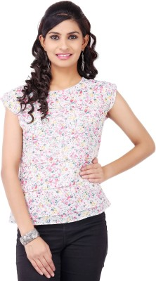 Pear Blossom Casual Sleeveless Floral Print Women's White Top