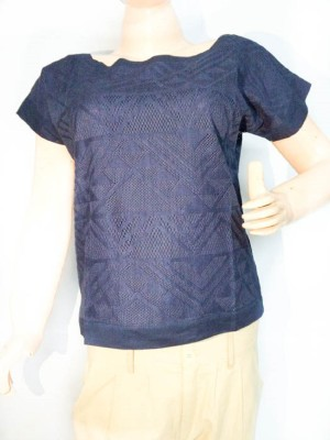ARMOIRE Wedding, Casual, Party, Formal, Beach Wear, Festive, Lounge Wear Short Sleeve Embroidered Women's Blue Top
