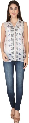 SOIE Casual Sleeveless Printed Women's Multicolor Top